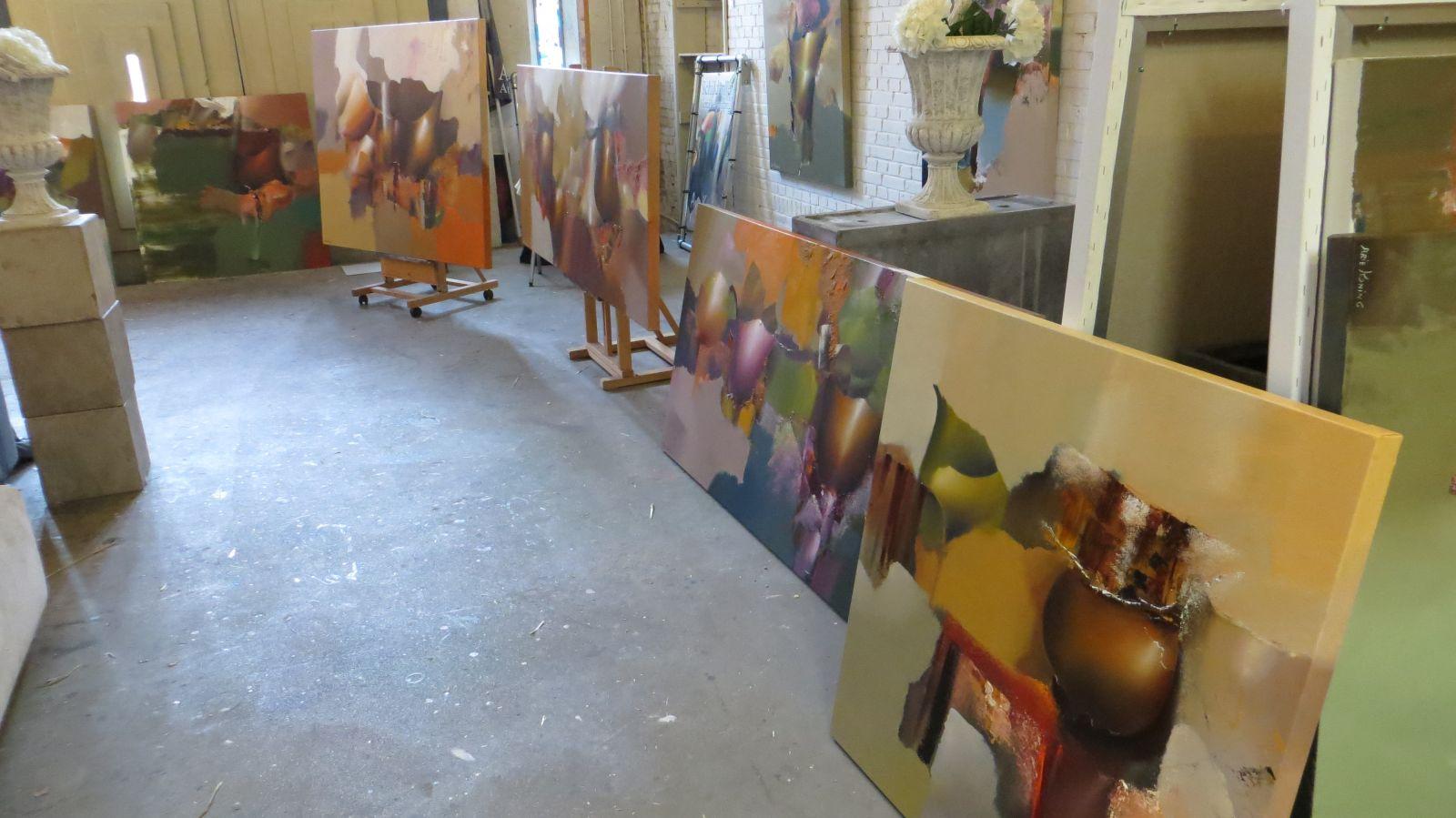 Arie koning waar een mooi abstract schilderij kopen met mooie warme kleuren - Associatie van kleur e geen schilderij ...