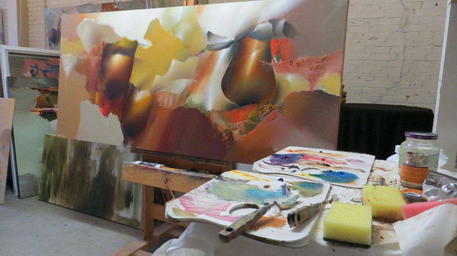 Arie koning grote abstracte bloemenschilderijen met for Moderne schilderkunst