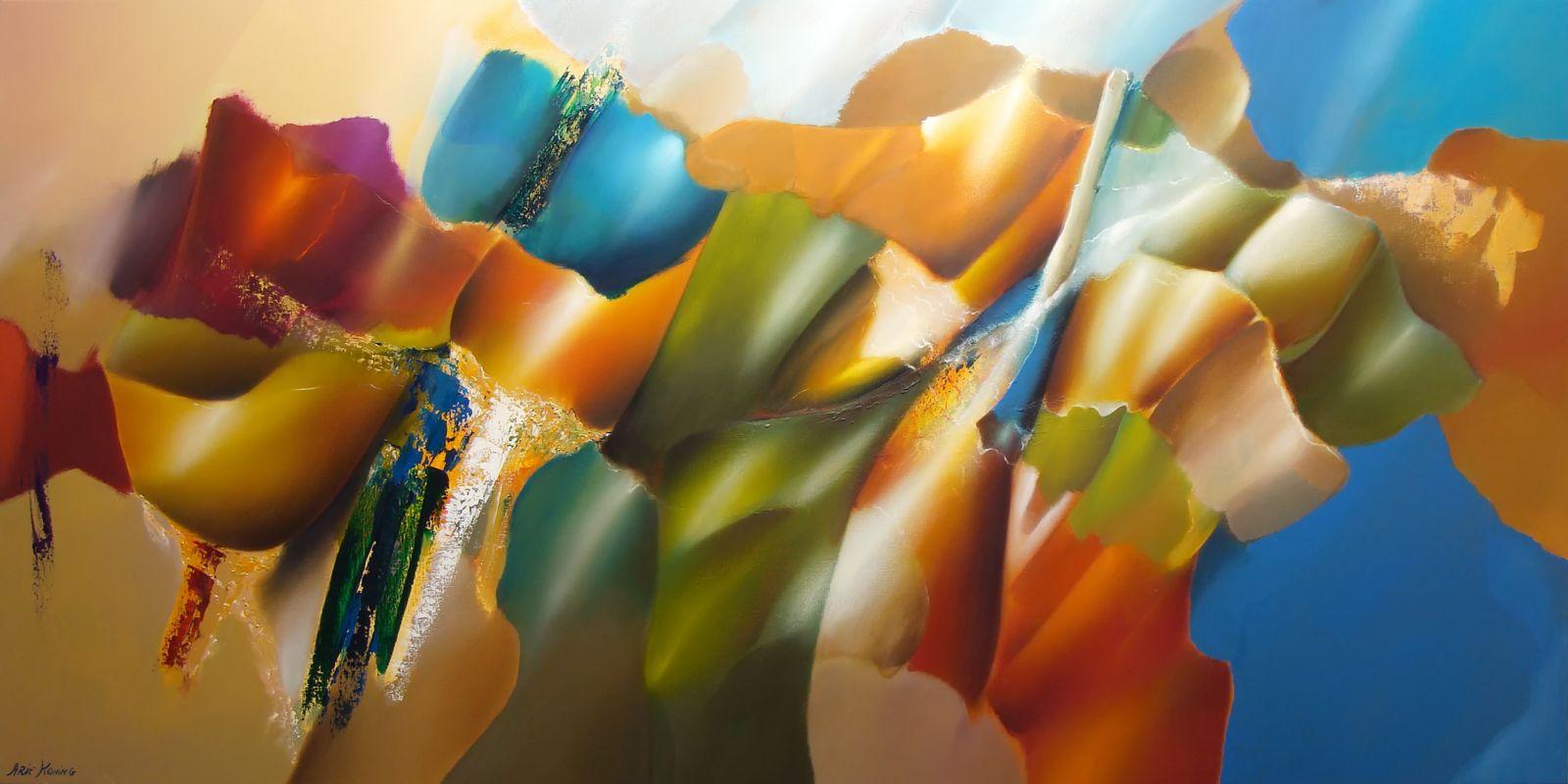 Arie koning abstracte bloemenschilderijen met mooie for Moderne schilderijen